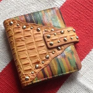 Leather croc-embossed studded multi color Planner